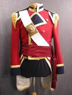 Military Coat Early 19th C w accessories red navy wool gold trim