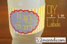 52 Mantels: DIY Water Bottle Labels {Plus a Free Printable!}