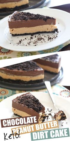 What is a dirt cake, you ask? It's a creamy no bake layered dessert with a cookie crumb topping to make it look like dirt. And yes, this one is KETO! An almond flour crust with creamy Low Carb Sweets, Low Carb Desserts, Healthy Desserts, Healthy Recipes, Dirt Cake Recipes, Dessert Recipes, Loaf Recipes, Recipes Dinner, Snack Recipes