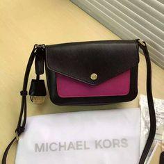 MICHAEL Michael Kors Greenwich Bi-Color Saffiano Leather Crossbody Bag Black