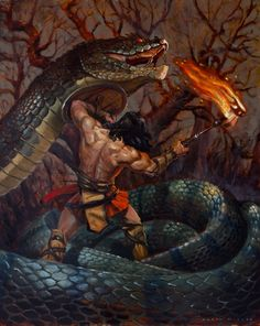 Conan in the coils of a serpent. Conan won't back down in this fight. Conan and the Serpent Fantasy Warrior, Fantasy Heroes, Fantasy Characters, Red Sonja, Fantasy Creatures, Mythical Creatures, Conan The Destroyer, Vikings, Conan The Barbarian