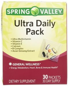 Spring Valley Ultra Daily Pack Vitamins & Minerals For Men & Women, 1 Box of 30 Packs