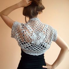 Grey Wedding Shrug Bolero ,Crochet Lace Bridal Shrug Bolero