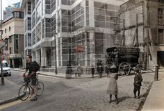Adam Tuck's haunting montage blending his pictures of the streets of 2012 with the streets of 1912. Steward Street. Via Spitalfields Life