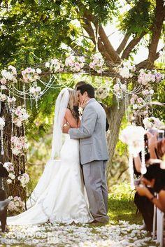 Outdoor wedding ceremony romantic arbor