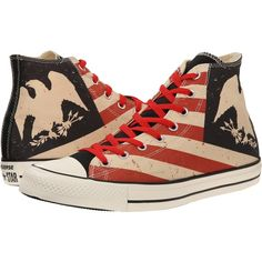 Converse Chuck Taylor All Star Americana Print Hi Lace up casual... ($27) ❤ liked on Polyvore featuring shoes, sneakers, multi, lace up shoes, converse sneakers, converse shoes and high top sneakers