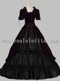 Victorian Gothic Velvet Ball Gown Period Dress Reenactment Theatre Clothing PURPLE Alternative Measures
