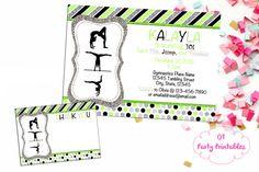 Gymnastics Digital Invitation  Lime Green by OTPartyPrintables