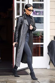Kim in black: On Monday Kim Kardashian was spotted wearing a Matrix-esque look in all bla. Kim in black: On Monday Kim Kardashian was spotted wearing a Matrix-esque look in all bla. Kim Kardashian Bikini, Kourtney Kardashian, Kardashian Style, Kris Jenner, Yeezy Sneakers, Celebrity Outfits, Celebrity Style, Stretch Jeans, Minimal Fashion