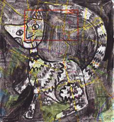 zig zag cat, ink on map by Nancy MacAlpine  http:///www.wearesoarty.blogspot.com.au