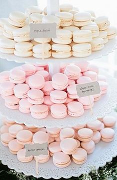 blush, pink and ivory macarons for desserts
