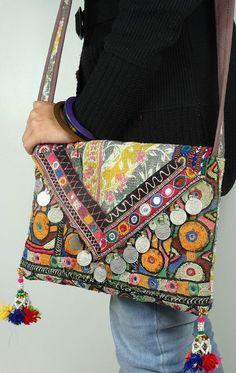 Vintage tribal shoulder handbag hobo messenger by maharaniarts, $39.00