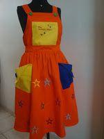 Roupa de palhaço - macacão e boina: Salopete Estrela Amarela