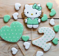 Hello Kitty Birthday, Baby Birthday, Tractor Tom, Hallo Kitty, Hello Kitty Cookies, Paint Cookies, Cookies For Kids, Cookie Icing, Birthday Cookies