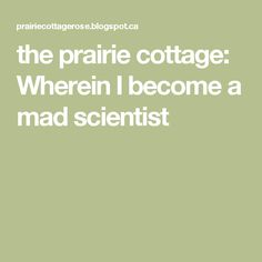 the prairie cottage: Wherein I become a mad scientist