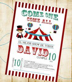 Diseño de Invitación tema de Circo Facebook Crafts by Iris Instagram @craftsbyiris