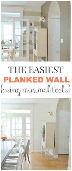 The Easiest Planked Wall Using Minimal Tools, the before & after- a farmhouse kitchen makeover