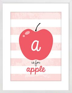 Apple Is For Apple Nursery Wall Print to brighten up your kid's room. Artwork prices start at $7.00. #nurserywallprints #numbers #apple