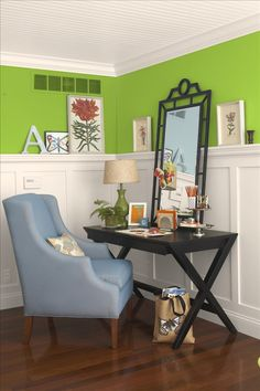 Home office, cute ideas! Like the mirror and the blue chair and the tiered server used for supplies.
