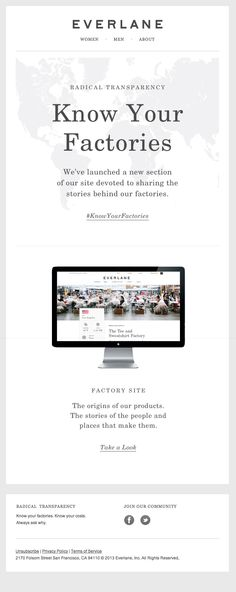 Everlane takes transparency to a new level showing consumers where their products are made, sourced and designed. #SocialImpact #Ecommerce