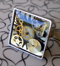 Square Gear Steampunk Resin Ring by marokel on Etsy, $15.00