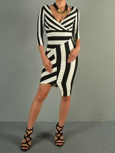 The Vintage Shop Ivory Black Stripe Patchwork Asymmetric Dress. Yorba Linda, Asymmetrical Dress, Black Stripes, Vintage Shops, High Fashion, Ivory, Silhouette, Models, Boutique