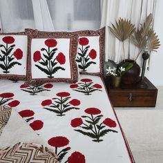 Linen Bedding, Bed Linens, Floral Embroidery Patterns, Cozy Nook, Red Flowers, Flower Prints, Bed Sheets, Printed Cotton, Pillow Covers
