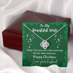 To My Wife Christmas Celtic Love Knot Necklace, Sentimental Wife Necklace, Celtic Necklace with Message Card, Wife Christmas Jewellery