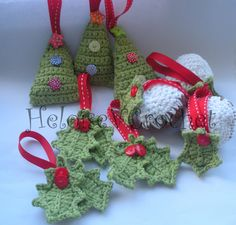 Crochet Christmas Decorations - tree, pudding & holly - The Supermums Craft Fair
