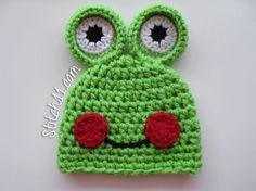 Free- Crochet- Frog-Hat-Pattern, lots of cute hats! Crochet Frog, Crochet Cap, Crochet Beanie, Cute Crochet, Crochet Crafts, Yarn Crafts, Crochet Projects, Crochet Baby Hat Patterns, Crochet Kids Hats