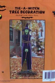 SPOOKY MURAL DECOR HALLOWEEN SCENE SETTER CLASSROOM TIE TO TREE WITCH OFFICE