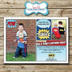 Super Hero superhero Photo Birthday Invitation, comic book invite, superhero party, superman, photo card, digital, printable. $15.00, via Etsy.