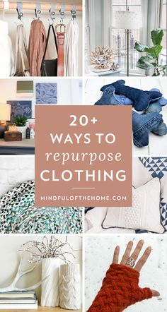 Finding ways to repurpose old clothing is a great way to hold onto clothes you love, promotes zero-waste and sustainability, AND we can save some money too. Recycle Old Clothes, Diy Clothes, Clothes Refashion, Diy Clothing Upcycle, Diy With Old Clothes, Remake Clothes, Making Clothes, Recycled Clothing, Recycled Fashion