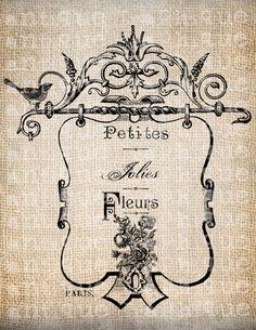 Antique Paris French Flowers Label Logo Fancy Ornate Handwriting Digital Download for Papercrafts, Transfer, Pillows, etc Burlap No 5499. $1.00, via Etsy.