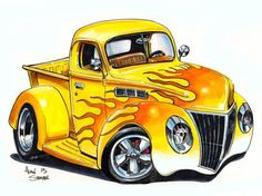 Ideas vintage cars cartoon for 2019 Cartoon Pics, Cartoon Art, Cars Cartoon, Weird Cars, Cool Cars, Caricature, Cool Car Drawings, Cars Coloring Pages, Truck Art
