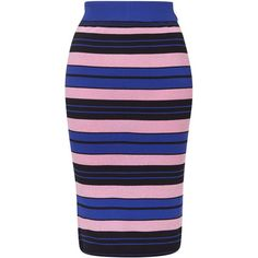TOPSHOP Hyper Colour Stripe Skirt ($60) ❤ liked on Polyvore featuring skirts, cobalt, striped skirt, topshop, calf length skirts, midi skirt and jersey midi skirt