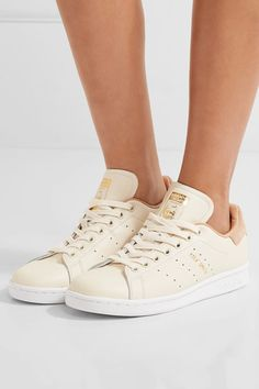 adidas Originals - Stan Smith Suede-trimmed Leather Sneakers - Off-white - US10.5