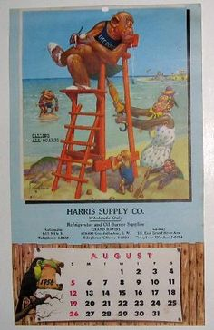 icollect247.com Online Vintage Antiques and Collectables - 1956 Calendar Page for August Signed Lawson Woods