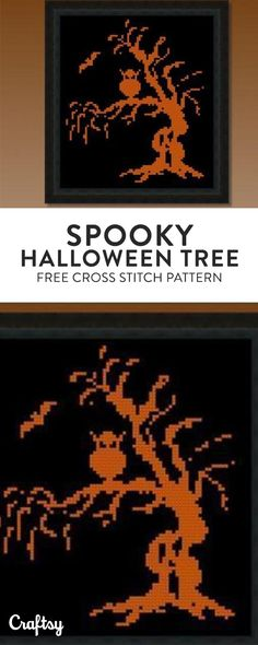 Cross stitch this spooky halloween tree! Get the free beginner pattern at Craftsy!