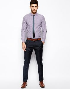 Image 4 of ASOS Smart Shirt In Long Sleeve With Gingham Check