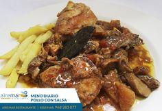 ¿conoces nuestros MENÚS DIARIOS? Hoy como segundo plato te ofrecemos entre otras opciones POLLO EN SALSA ¿tiene buena pinta ? ¿ eh?  Reservas 9683830777