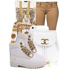 cute outfits with timberland boots | KRUSH GIRLZ — Kustom white chain gang Timberlands (Adult)
