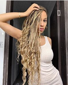 150 Awesome African American Braided Hairstyles – Up Hairstyles Blonde Box Braids, Short Box Braids, Braids With Curls, Black Girl Braids, Braids For Black Hair, Girls Braids, Jumbo Box Braids, Blonde Braiding Hair, Ombre Box Braids