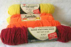 6 Skeins of Yarn Fall Colors:  2 yellow, 3 tangerine & 1 vermilion #CoatsClark
