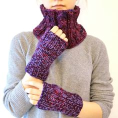 Purple Cable scarf and classic knit hand by ValerieBaberDesigns