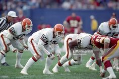 Linebackers Clay Matthews #57, Eddie Johnson #51 and Tom Cousineau #50 and defensive lineman Carl Hairston #78 of the Cleveland Browns line up against the Redskins