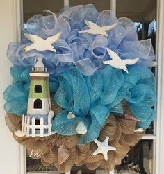 "22-23"" handcrafted deco mesh nautical lighthouse beach summer wreath"