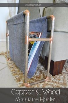 DIY Hacks for Renters - Copper Pipe Magazine Holder - Easy Ways to Decorate and Fix Things on Rental Property - Decorate Walls, Cheap Ideas for Making an Apartment, Small Space or Tiny Closet Work For You - Quick Hacks and DIY Projects on A Budget - Step by Step Tutorials and Instructions for Simple Home Decor http://diyjoy.com/diy-hacks-renters