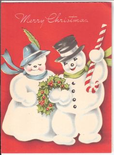 Vintage Acweltone Christmas Card - Snowman Couple with Candy Cane