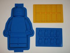 Set of 3 Silicone Lego Minifigure Cake Pan Brownie Jello mold birthday party Ice Candy Soap Crayon molds